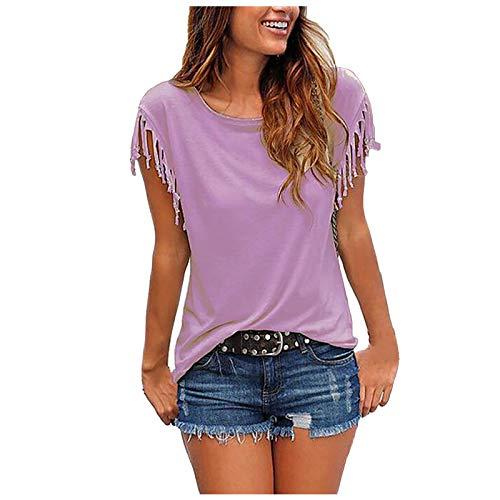 Lässige Mode mit losen Quastenärmeln für Damen Mehrfarbiges Kurzarm-T-Shirt,Oberteile Vintage Sweatshirt Rundhals Oberteile Teenager Mädchen Best Friends Top Lang(Lila:5XL)