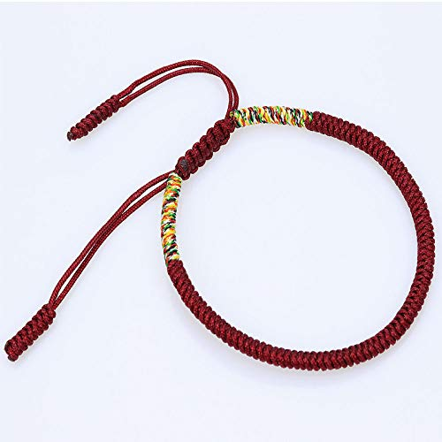 BAOFUFU Geflochtenes Armband,Handgestrickte Tibetischen Seil Schmuck Vajrayana Buddhismus Knoten Ursprüngliche Einfache Crimson Farbige Verstellbare Armband Personalisierte Kleidung Accessoires