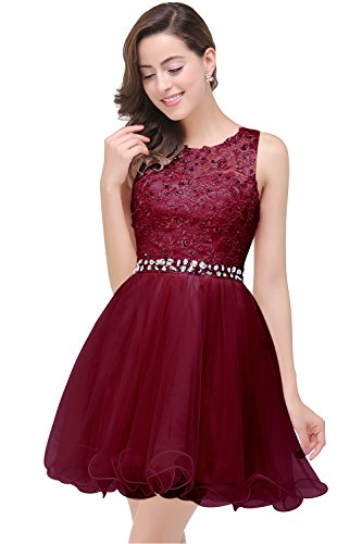 Damen 2018 Cocktailkleid bordeaux rot Promkleid Home Coming Dress Knielang A-linie Rock Tüll Wein rot Gr.42