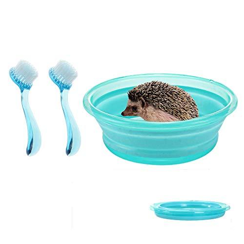 HanryDong Opvouwbare Hedgehog Badkuip, met 2-delige Set Badborstel, Plastic Zwembad voor kleine dieren, Badzand Zandkamer Sauna, voor Hedgehog Hamster, Guinea Varken, Blauw, Roze, Blauw bad + 2 borstels