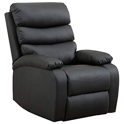 gridinlux. Sillón Relax Extra Acolchado NEGRO. Reclinable, Masaje y Calor Lumbar. 8 Motores, 4 Zonas de Masaje, 5 Modos