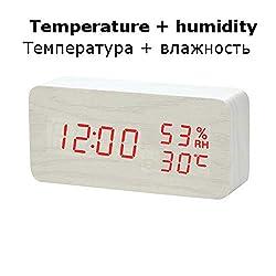Clock Wooden Digital Alarm Clock Night Light Display Temperature Table Clocks Desk Electronic Despertador,20