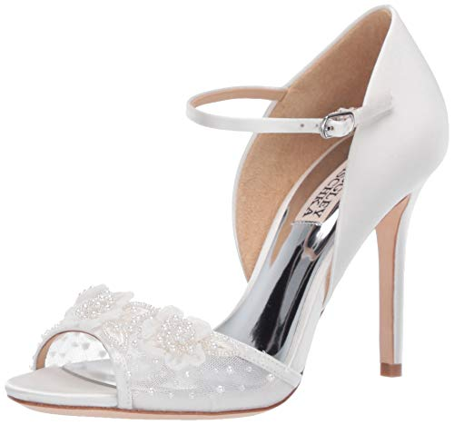 Badgley Mischka Women's Carter Heeled Sandal, Soft White, 8 M US