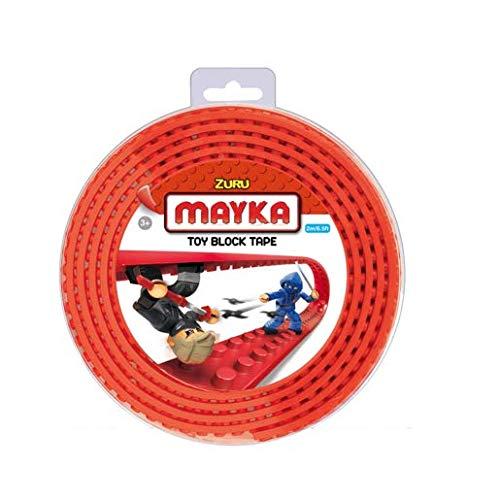 Mayka Tape Zuru Spielbaustein-Klebeband selbstklebend – 2 Pins – Rot – 2 Meter
