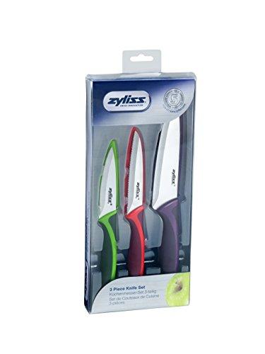 Zyliss Küchenmesser Messer-Set, TPE, PP, SS, grün/rot/violett/Edelstahl, 31 x 13.5 x 3 cm
