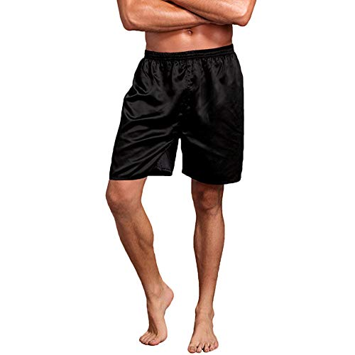 Nuofengkudu Männer Satin Schlafshorts Bermuda Schlafanzughose Schlafanzüge Kurz Weich Pyjama Bottoms Loungewear Unterwäsche Retroshorts Sommer(Schwarz,XL)