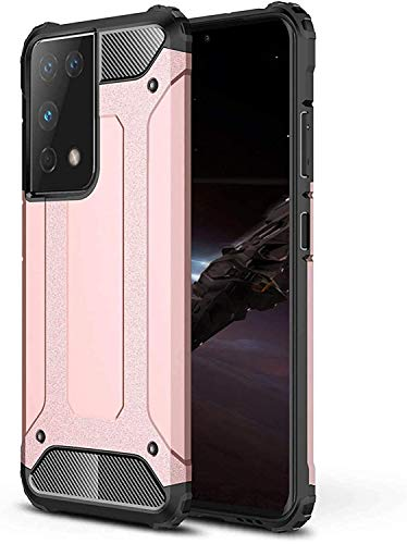 Funda para Samsung Galaxy S21 Ultra de 360 grados, original, resistente, de silicona, rígida, militar, suave, fina, exterior, resistente a arañazos y golpes, color oro rosa