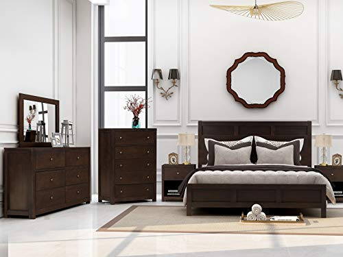 Merax 6 Pieces Bedroom Furniture Set, Bedroom Set with King Size Platform Bed, Two Nightstands, Dresser, Chest and Mirror, Rich Brown Color