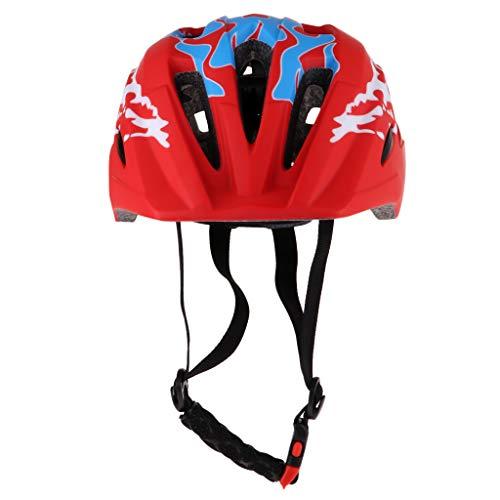 perfeclan Casco Integral Ligero Ajustable para Niños, Niñas Y Niños para Patinaje en Bicicleta - Rojo