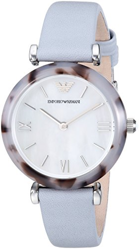 Emporio Armani Women's 'Gianni T-Bar' Quartz Stainless Steel and Leather Casual Watch, Color:Blue (Model: AR11002)