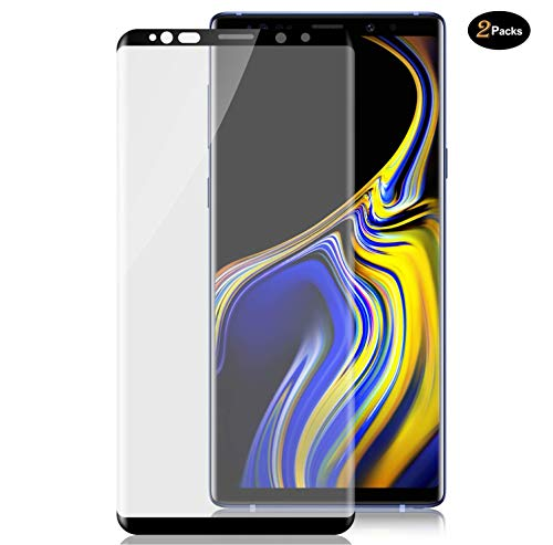 2 Pack HD Galaxy Note 9 Screen Protector,Tempered Glass for Galaxy Note 9 [3D Full Edge Covered] [9H Hardness] [Anti-Dirty] Case Friendly Glass Protector for Samsung Galaxy Note 9