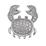 Pendentif Collier Femme 925 Argent Fin Oxyde De Zirconium Crabe (Livré Avec Une Chaîne De 45 Cm)