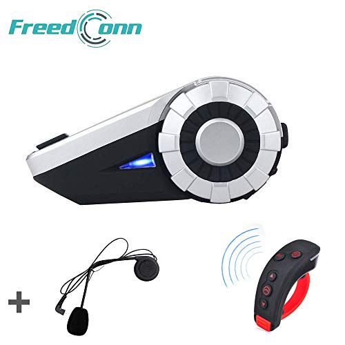 Motorcycle Helmet Bluetooth Intercom Interphone Headset Headphones Kit, FreedConn T-Rex for 8 Riders/Range 1500m/MP3 Player/GPS/FM Radio/Hands Free (1Pack)