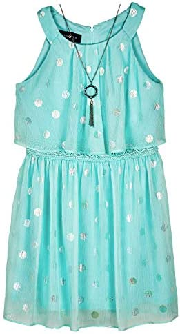 Amy Byer Girls Halter Popover Dress with Decorative Trim at Waist Mint 14 product image