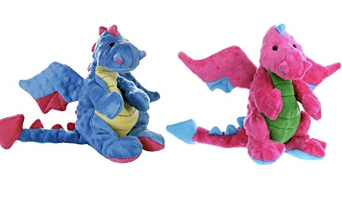 GoDog Dragon with Chew Guard Technology Dog Toy LARGE Set of 2! Blue & Pink