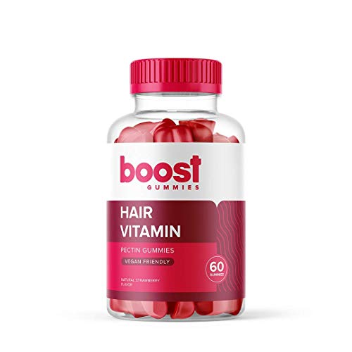 Boost Gummies Hair, Skin & Nails | Enriched with Vitamin D & Biotin | 60 Vegan Friendly Chewable Gummies | Hair Growth, Nail Strength & Clearer Skin