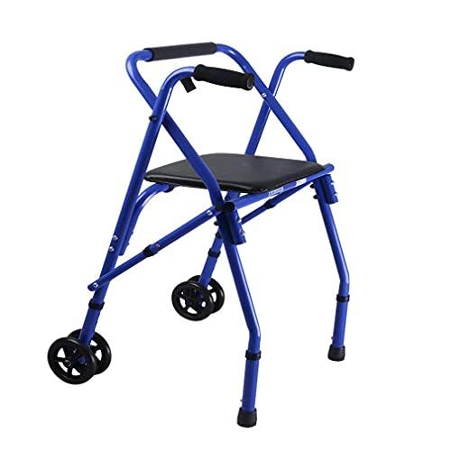 Caminantes para personas mayores Caminante bariátrico plegable ligero con 2 ruedas, rodillo con asiento acolchado, marco de zimmer para caminar - altura ajustable - muleta de ayuda de movilidad para a