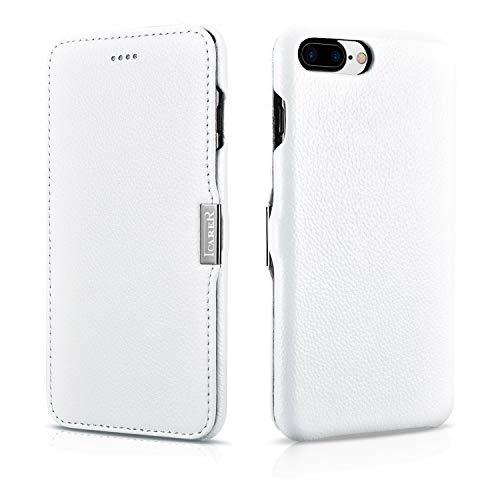 ICARER Luxus Tasche für Apple iPhone 8 Plus und iPhone 7 Plus (5.5 Zoll), Case mit Echt-Leder Außenseite, Schutz-Hülle seitlich aufklappbar, ultra-slim Cover, Etui, Weiß