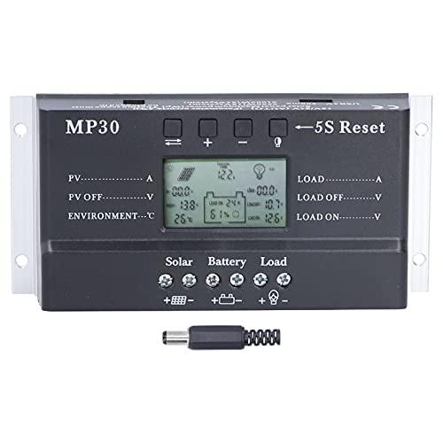mumisuto Controlador de Carga Solar de 30 A, Pantalla LCD de 12/24 V, protección de Circuito de retroiluminación, Puerto USB, regulador de batería de Panel Solar MPPT PWM