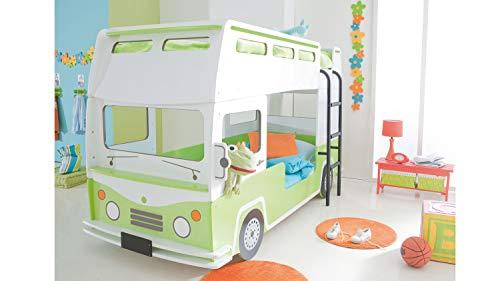 Möbel Akut Hochbett Doppeldecker Autobus Kinder Etagenbett Bussy in grün und weiß