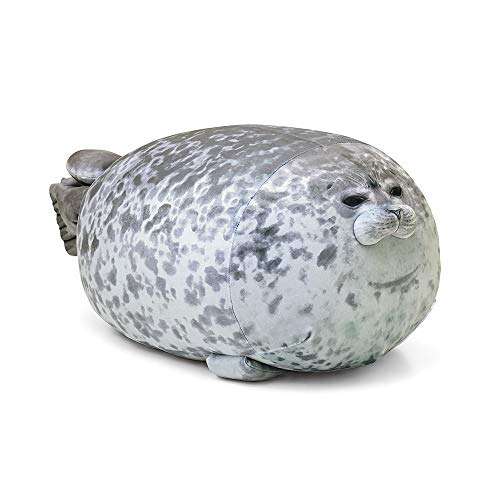 Rainlin Chubby Blob Seal Pillow Stuffed Cotton Plush Animal Toy Cute Ocean Pillow Pets Grey X-Large (31.5 inch Length)