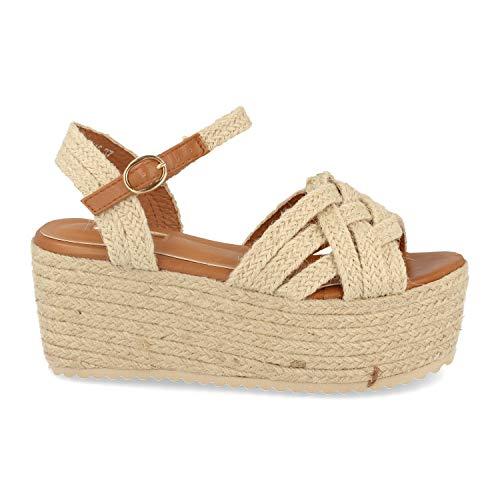 48685-Sandalo da Donna Boho Chic con Piattaforma in Iuta, Zeppa, Cinturini Incrociati e Cinturino alla Caviglia con Fibbia. Primavera Estate 2020. Taglia 41 Beige
