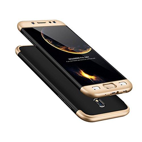 Caler Compatibile con Samsung Galaxy J5 2017 Cover 360 Gradi Custodia + Pellicola Vetro Temperato 3D Full Body Ultra Sottile Antiscivolo Protettiva Case per Galaxy J5 (2017) J530F (Nero Dorato)