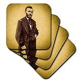 3dRose cst_269995_2 - Posavasos con diseño del Presidente de los Estados Unidos de la Guerra Civil de Ulysses S Grant, estilo vintage