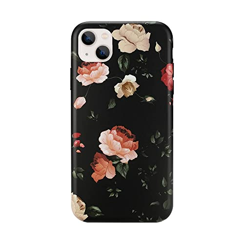 Wingcases Compatible with iPhone 13 Case 6.1 inch, Black White Rose Flower Fashion Cute Floral Design Ultra Thin Matte Soft Silicone Protective Cell Phone Cover for Girl Women