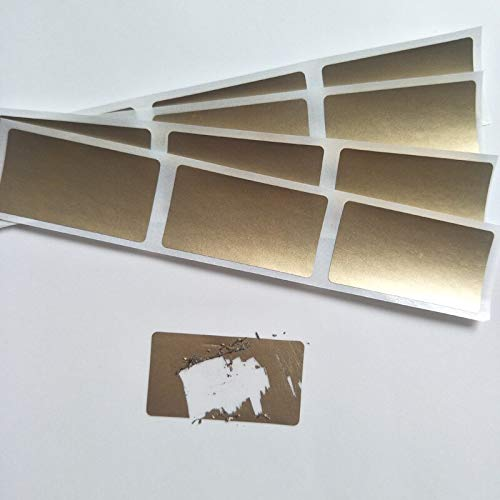 New 23x42mm 100pcs gold adhesive SCRATCH OFF stickers DIY Password sticker hand made scratched stripe card film