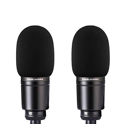 2pcs AT2020 Microphone Foam Cover Windscreen Pop Filter Black Compatible with Mic Audio Technica AT2020 ATR2500 AT2035 AT2050 AT4040 Cardioid Condenser Microphone Noise Reduction
