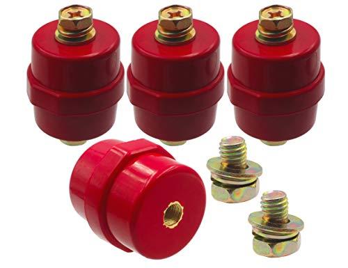 LBY 4pcs Busbar Insulator, SM-40 Polyester Standoff Insulators with Screw(M8), High-Strength Busbar Insulator Supporter, Resin(Red)