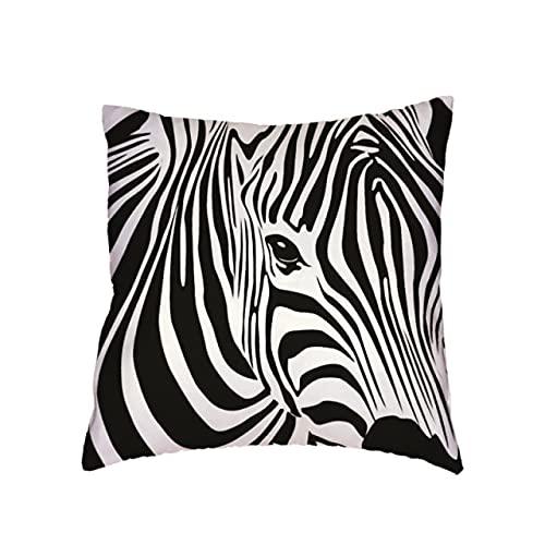 YUBIN Funda de cojín de Estilo geométrico Simple, Rayas Blancas y Negras, líneas de Cebra Coloridas, decoración de Funda de Almohada Ondulada para Sala de Estar