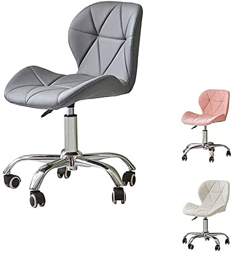 TAIDENG Office Chair Desk Chair Computer Chair Faux Leather Adjustable Office Chair with Back Support Ergonomic Computer Chair on Wheels Swivel Chair for Office Home Computer Desks (Color : Gray)