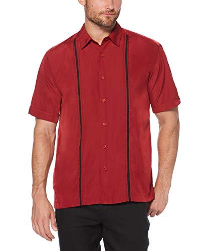 Cubavera Men's Big & Tall Short Sleeve Insert Panels with Pick Stitch Shirt, Biking Red, 4X Large