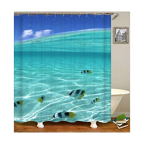 Daesar Polyester-Stoff Badezimmer Duschvorhang 120x180 Fisch Meer Badvorhang Anti-Schimmel