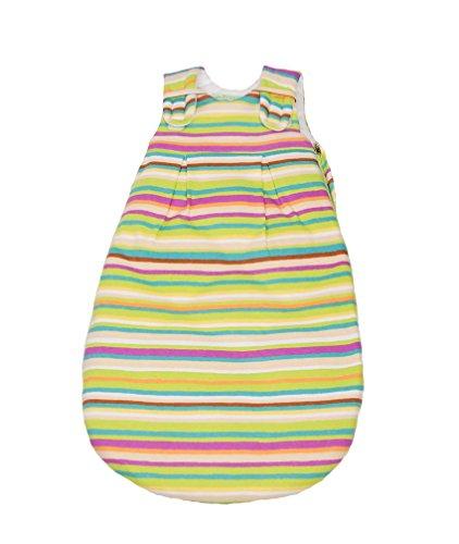 Picosleep Babyschlafsack unisex gestreift I ohne Ärmel I weiche Jersey-Baumwolle I ganzjährig I Klettverschlüsse und Seitenreißverschluss (62/68)
