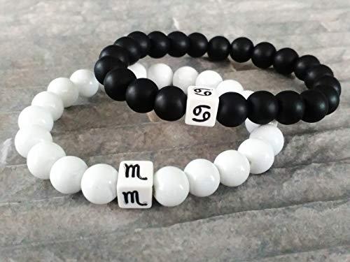 Sternzeichen Armband Halbedelsteindelstein Onyx Perlen schwarz weiß Damen Herren Armreif 8mm Perlen elastisches