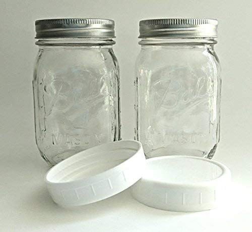 Ball Pint Jar, Regular Mouth, Set of 2 with 2 Plastic Lids