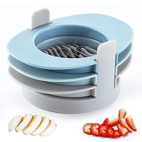 Eierschneider Edelstahl Spülmaschinenfest,3 in 1 Multifunktionaler Eischneider mit Edelstahldrahtschneidlinie und Keilmodul für Gekochte Eier,Erdbeeren,Pilze und Salate