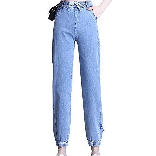 Pantalones Vaqueros de Mujer Verano elásticos de Cintura Alta Sueltos sección Delgada Pantalones Vaqueros de Cintura Transpirable hasta el Tobillo Pantalones Harem