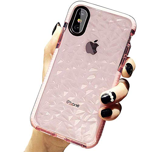 SUBESKING Compatible for iPhone 11 Pro Max Case,Cute Crystal Clear Slim Fit 3D Diamond Pattern Soft TPU Anti-Scratch Shockproof Protective Phone Cover Cases for Women Girls(Pink)