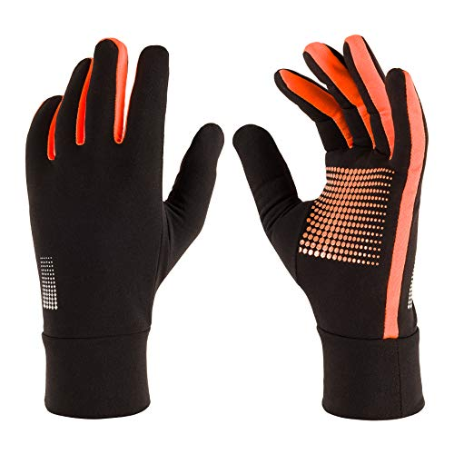 Running Gloves: Lightweight Sport Gloves with Touch Screen Fingers for Men Women Fall Winter (Black Orange, Medium)