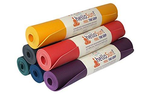 helloSun Tappetino Premium Materassino da Yoga di alta qualità, in gomma naturale, antiscivolo, leggero, assorbe l'umidità; Certificato OEKOTex, Fatto in Europa, 4mm (Viola)