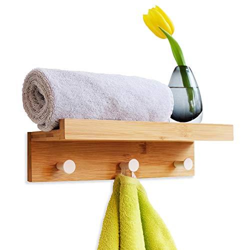PIVELLO® Wandregal Bad 3 Haken HBT 8x36x12cm | Handtuchhalter Bad aus Bambus Holz | Farbe Natur | Handtuchablage Sauna | Badregal schmal mit Hakenleiste Bad | Wandtuchhalter und Regal mit Haken