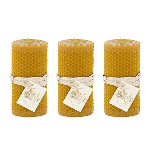 L'abella Mel – Vela natural de cera de abeja – Pack de 3 Velas naturales hechas a mano