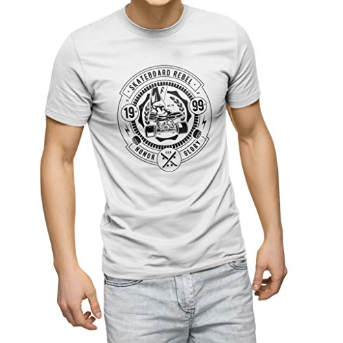 Skateboard Rebel White Men's T-Shirt Size S