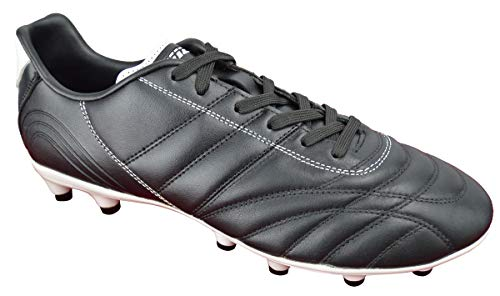 Vizari Men's Classico FG Soccer Shoes/Cleats for Firm/Hard Ground Playing Surfaces (Black/White, 7)