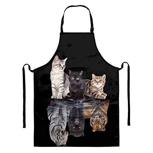 HUGS IDEA Delantal de cocina de calidad profesional con diseño de gato...