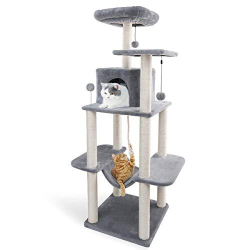 Amazon Brand – Eono Kratzbaum mit Space-Kapsel Acrylnest mit sisalbedeckten Kratzbäumen, Cat Play Tower-Kratzbaum-Aktivitätszentrum aus Holz, Cat Castle-Stall und Robustes Grey 121 cm